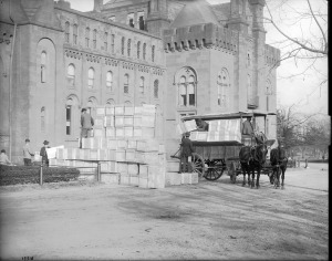 THEN: The South Yard of the Smithsonian Castle, 1910. This is now the location of the Enid A. Haupt Garden. Image courtesy of the Smithsonian Institution Archives.