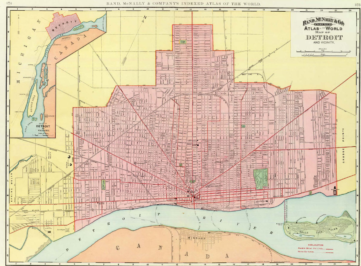 Map of detroit with belle isle park 1897 david rumsey map collection
