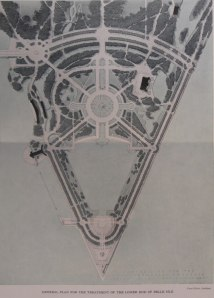 Plan for the lower end of Belle Isle Park by Cass Gilbert, c. 1925. Bentley Historical Library, University of Michigan.