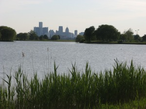 Detroit's skyline from Belle Isle Park, 2009. Photograph by Joe Cialdella.
