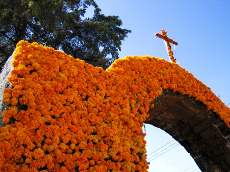 Archway Covered in Marigolds, From Wikicommons
