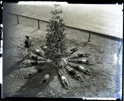 Christmas tree on beach,