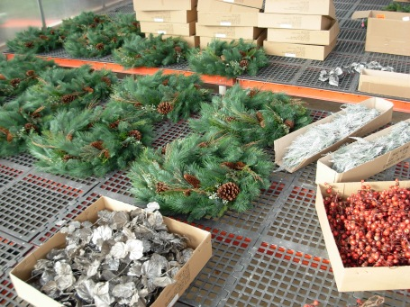 Holidays decorations being prepared for the National Museum of American History.