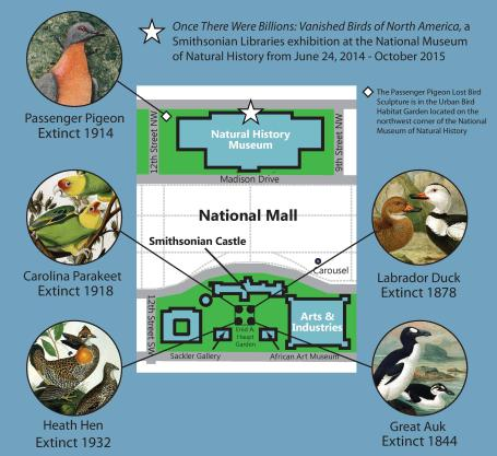 Map of The Lost Bird Project in the Smithsonian gardens.