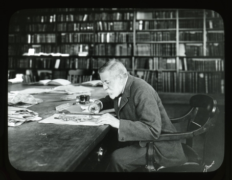 Sargent in the Library at the Arnold Arboretum examining Quercus herbarium specimens.