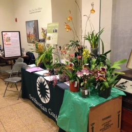 Orchid Family day booths set up in the National Museum of Natural History