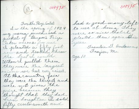This letter from the 1925 Burpee seed contest was one of hundreds digitized by Kathryn during her internship.