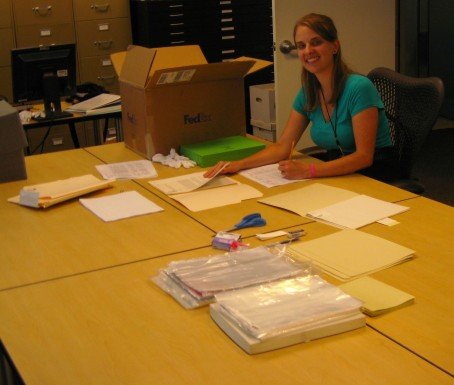 Kathryn processing the Mary Riley Smith Collection at the Archives of American Gardens
