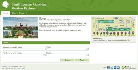 View of Smithsonian Gardens' living collections mapping and information page.