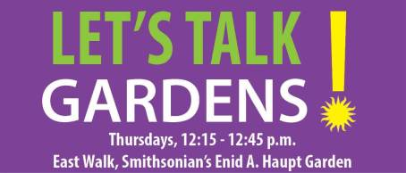 Let's talk gardens series logo with time and location