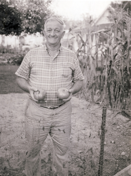 Harry Sr. holding his tomato harvest in his home garden.