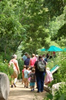 Visitors exploring the Pollinator Garden.